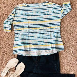 💐 3/$22 Lane Bryant White Blue Stripe Top